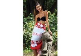 35″ X 60″ Red Hibiscus Stock Beach Towel