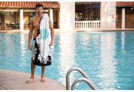 35″ X 60″ Black Hibiscus Stock Beach Towel