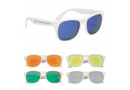 Rubberized Mirrored Malibu Retro Sunglasses