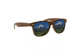 Wood Grain Miami Logo Lens Sunglasses