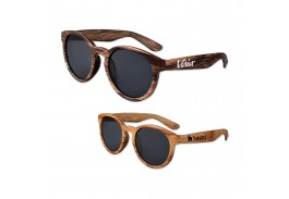 Wood Round Lens Sunglasses