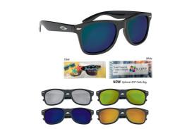 Black Frame Mirrored Malibu Sunglasses