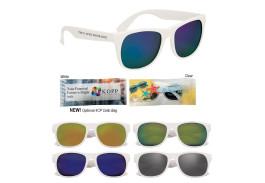 White Frame Mirrored Retro Sunglasses