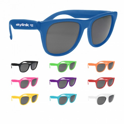 ad70358fac Promotional Retro Baja Neon Rubber Sunglasses Solid Color Frames