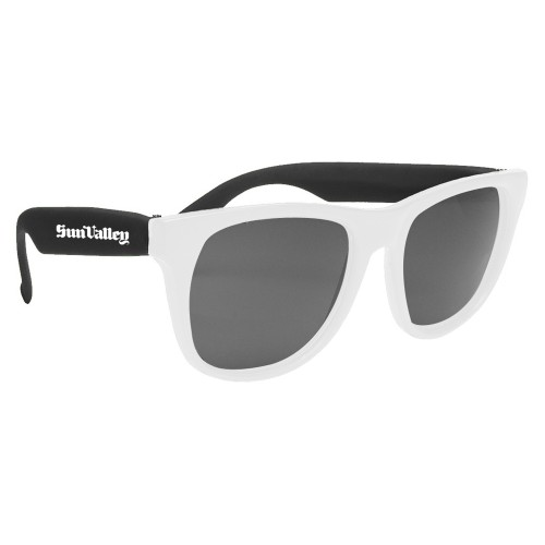 Custom Promotional Baja Neon Rubber Sunglasses with White Frames