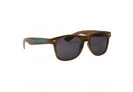 South Beach Blues Retro Sunglasses - Wood Grain