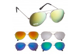 Color Mirrored Aviator Sunglasses